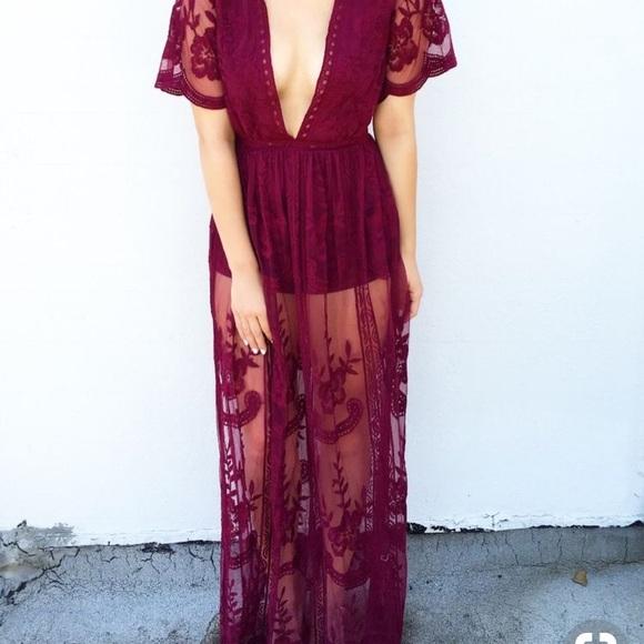 e5f7a9b58483 Dresses | Deep V Burgundy Wine Lace Maxi Dress | Poshmark
